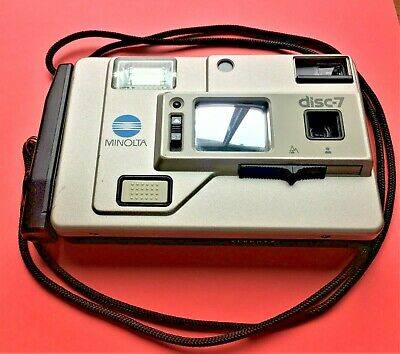 """Vintage Minolta Disc-7 Camera with Case (the world's first """"selfie"""" camera)"""