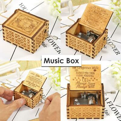 Retro Exquisite Wooden Hand Cranked Music Box Home Crafts Ornaments Kids Gifts