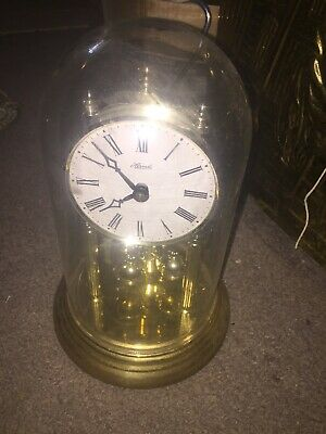 Vintage German Hermle Quartz Anniversary Glass Dome Mantel Clock