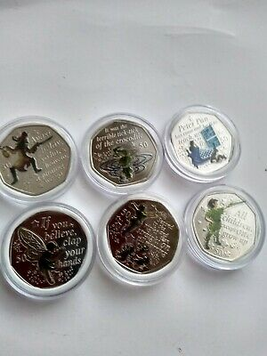 Isle Of Man Peter pan coins full set with decals bu