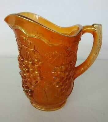 """Vintage Carnival Imperial Glass Water Pitcher Marigold with Grapes 8"""""""