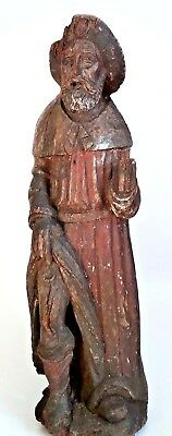 Antique 15th Century Carved Monochrome Statue of Saint Roch