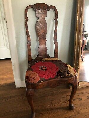 Pair Two 2 Antique Italian Inlaid Dining Chairs Carved Vintage Dining Wood