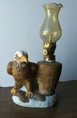 American Bald Eagle Patriotic Oil Lamp. Painted Ceramic Never Used.