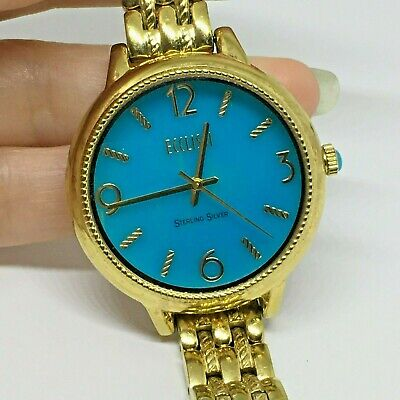 ECCLISSI Sleeping Beauty Turquoise Gold Over 925 Sterling Ladies Watch