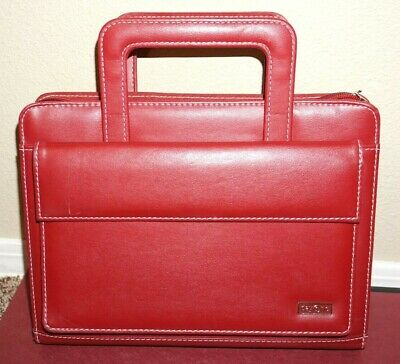 Day One Franklin Covey Red Classic Planner 7 ring w snap pocket & handles