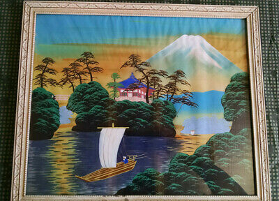 Mid Century Japanese Transfer Painting on Silk Framed 16X19