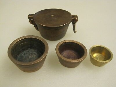 Antique 19th Century 1865 Copper Apothecary Nesting Weight Set B9978