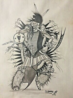 Darwin Cabaniss Original Art Drawing Estate 1987 Kiowa Apache Native American