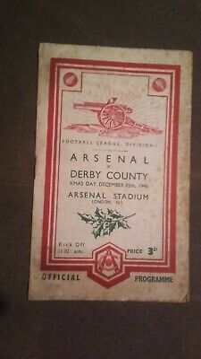 Arsenal v Derby County 25-12-1948 first division football programme