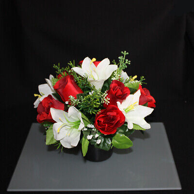 Memorial grave pots artificial silk flower arrangement funeral Hand Made