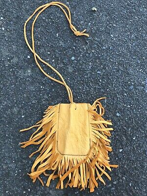 """Native American Leather Medicine Bag  Necklace Pouch  Handmade  6""""   Amulet"""