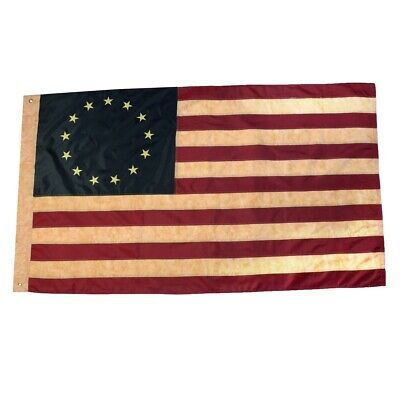 3x5 Ft Tea Stained Betsy Ross 13 Star Embroidered US Flag 3 x 5 Sewn 3'x5' Flags