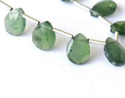 Serpentine Beads Faceted Pear 6X8 Mm Natural Gemstone 6 Cts - 7 Pcs #1189