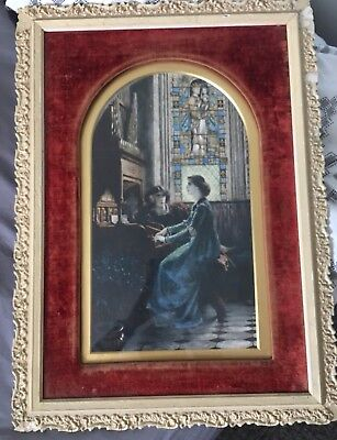 1858 Antique Victorian Picture Etching Gesso Velvet Framed Frank Dicksee Harmony