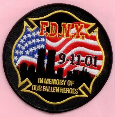 New York City Fire Dept In Memory of Our Fallen Heroes Patch Black 9-11 WTC