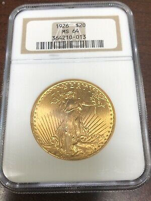 1926 $20 Saint Gaudens Gold Double Eagle NGC MS64!  4678384-006