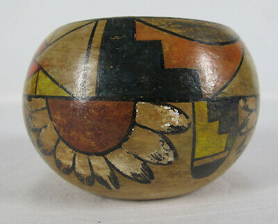 Stumped Native American Indian Painted Pottery Pot / Bowl / Vase OLD Old old yqz