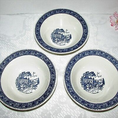 3 Homer Laughlin Shakespeare Blue Stagecoach Rim Cereal Soup Bowl Transferware