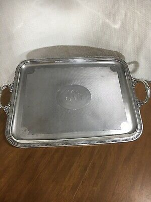 26X21 Christofle Antique Large Silver Plated Serving Tray 19Th Century Butler