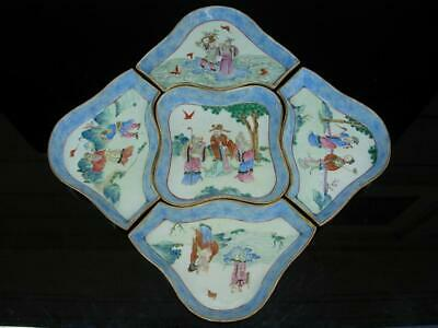 Nice Antique Chinese Famille Rose Sweetmeat Set With Figures