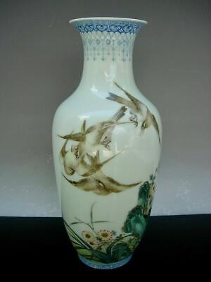 A Good Old Chinese Famille Rose Vase With Birds & Inscription, Republic Period