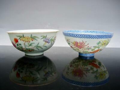 Two Antique Chinese Famille Rose Bowls With Spray Of Flowers, Republic Period