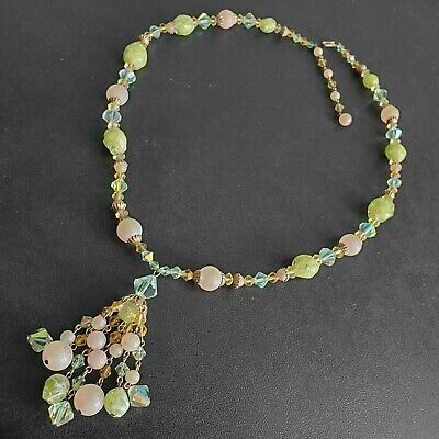 Vintage Green & Peach Amber Glass Crystal Bead Tassel Dangle Necklace BN104