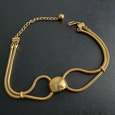Vintage Mid Century Gold Tone Necklace Choker Necklace Snake Chain Retro BN131