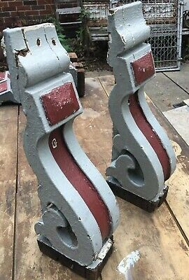 Pair Wood Victorian House Corbels Chippy Paint