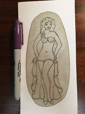 Tony The Pirate Signed 1960's Pin-up Acetate Stencil LB Pike Old School Tattoo