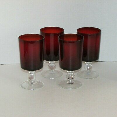 """Luminarc Ruby Red Water Glasses 4 Goblets 5 7/8""""  Clear Ball Stem Glass France"""