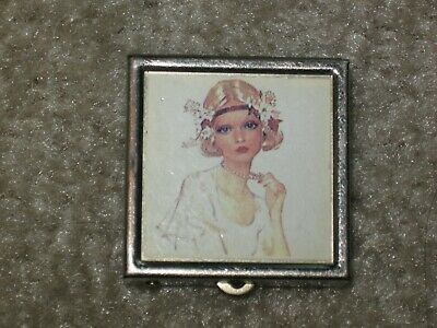 Vintage Flapper Girl Two Section Gold Tone Pill Box