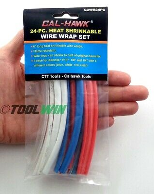 24 pc Heat Sleeve Shrink Wire Wrap Tubing Red White Blue Color