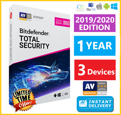 Bitdefender Total Security 2019 | 3 Devices 1 Years | Download INSTANT DELIVERY