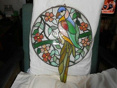 """Large 14"""" Round Multicolor Parrot Floral Stained Glass Window Hanging Well Done"""