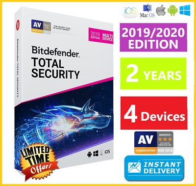 Bitdefender Total Security 2019/2020  4 Device 2 Years Download-Instant Delivery