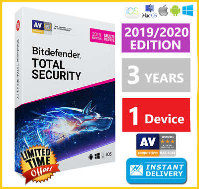 Bitdefender Total Security 2019 | 1 Device 3 Years | Download INSTANT DELIVERY