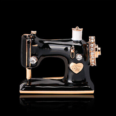 Oil Painting Rhinestone Crystal Black Sewing Machine Gold Plated Pin and Brooch