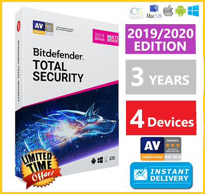 Bitdefender Total Security 2019 | 4 Devices 3 Years | Download INSTANT DELIVERY