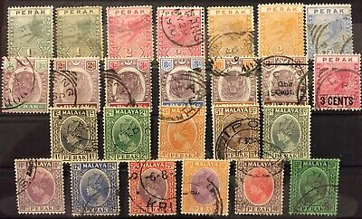 1892-1937 PERAK - Fine used section for your world collection!!!!  CV $ 32+