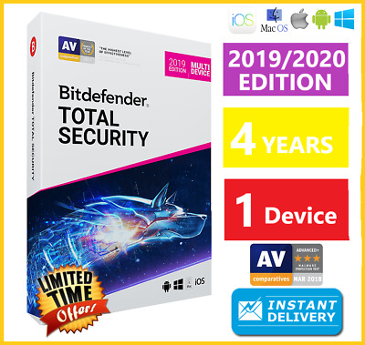Bitdefender Total Security 2019 | 1 Device 4 Years | Download INSTANT DELIVERY