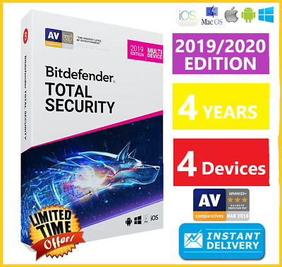 Bitdefender Total Security 2019/2020  4 Device 4 Years Download-Instant Delivery