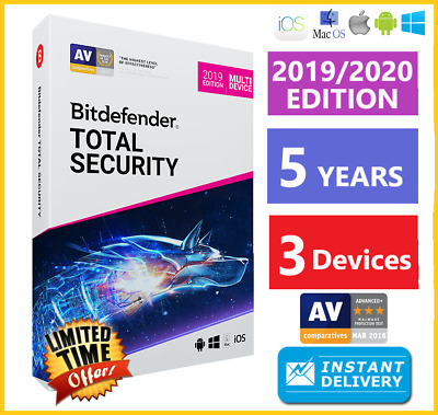 Bitdefender Total Security 2019 | 3 Devices 5 Years | Download INSTANT DELIVERY