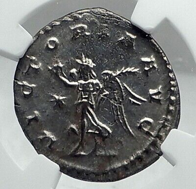 GALLIENUS Authentic Ancient 263AD Antioch Genuine Roman Coin VICTORY NGC i79211