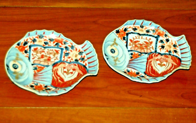 Antique Pair Japanese IMARI FISH Plates Porcelain Arita Meiji