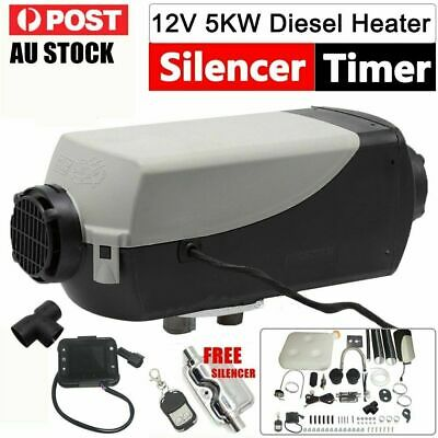 12V 5KW 5000W Diesel Air Heater Parking Silencer Fliter T-Piece digital Switch