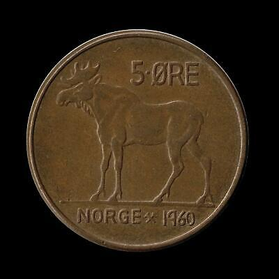 NORWAY 5 ORE 1960 VERY GOOD CIRC Cond -  MOOSE with ANTLERS COIN