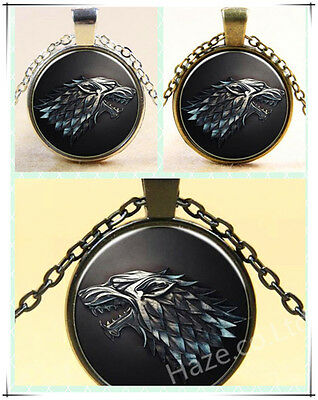 Game of Thrones Necklace Pendant - House of Stark Black Wolf Jewelry Gift