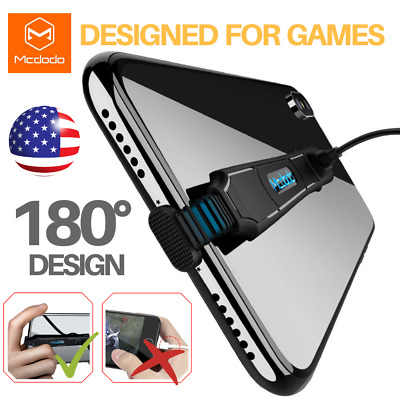 MCDODO 180° Elbow Game Charger iPhone Type-C Fast USB Charging Cable Cord
